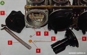 Карбюратор со снятой крышкой вакумной камеры.
