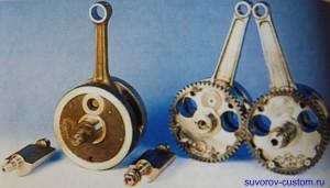 Кривошип обычного одноцилиндрового двигателя и двухвального.