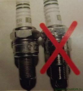 Слева оригинальная, а справа поддельная свеча зажигания.