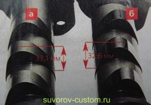 Слева спортивный распредвал (а) и справа заводской (б).