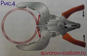 Лучший инструмент для равномерного сжатия кольца и монтажа его на поршень.