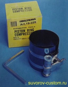 Приспособление для сжатия колец на поршне и установки поршня с кольцами в цилиндр.