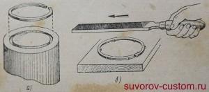 Способы фиксации поршневого кольца, при уменьшении его высоты, при обработке.