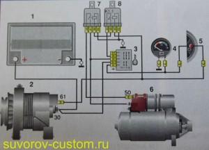 Схема усовершенствования заводской схемы включения и блокировки стартера.