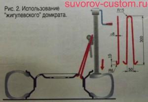 Использование для отклеивания покрышки жигулёвского домкрата.