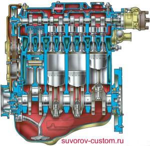Разрез двигателя ВАЗ 2108 - 09.
