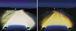 Разница в освещении дороги ксеноновых ламп (слева) и галогенных (справа).
