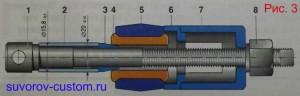 Запрессовка металлической распорной втулки в верхний рычаг подвески.