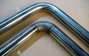 Труба А - до полировки шва и труба Б - после полировки шва.