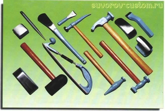 Набор инструмента для ремонта кузова (рихтовки).