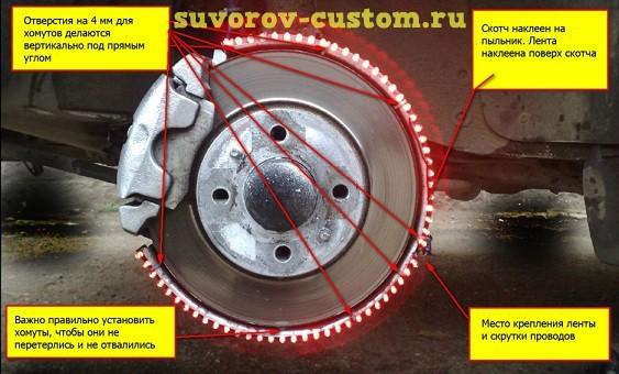 светодиодная подсветка колёс