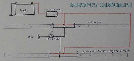 Схема подключения светодиодной подсветки салона