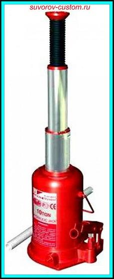 Домкрат гидравлический телескопический бутылочный с высоким подъёмом