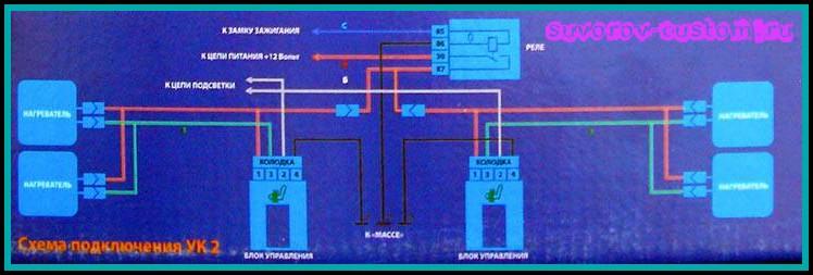 Подогрев сидений Емеля УК2 - схема подключения