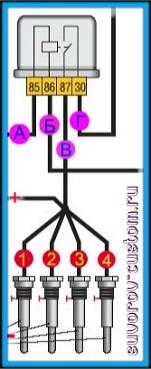 Реле свечей накаливания - схема проверки