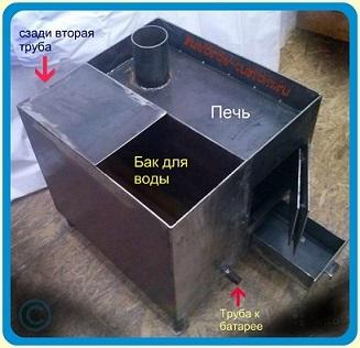 Печь для бани своими руками с баком для воды