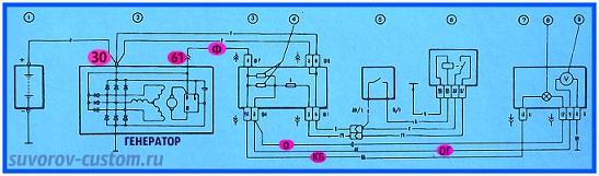 Электросхема соединения генератора ваз 2108