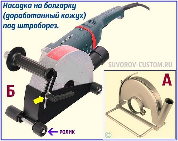Насадка на болгарку штроборез А - самодельная с трубой под пылесос, Б - заводская с роликами, которая позволяет изменять вылет диска и глубину штробления.